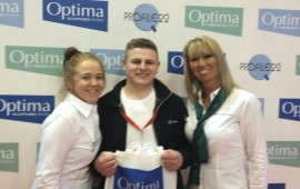 James Spiking of @PDSdoorsets posing with @KatrinaEarl & Katie Leese with his bag of Optima goodies!